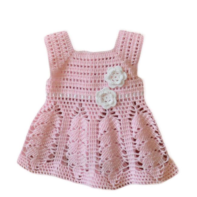 Różowa sukieneczka szydełkowa roz 68