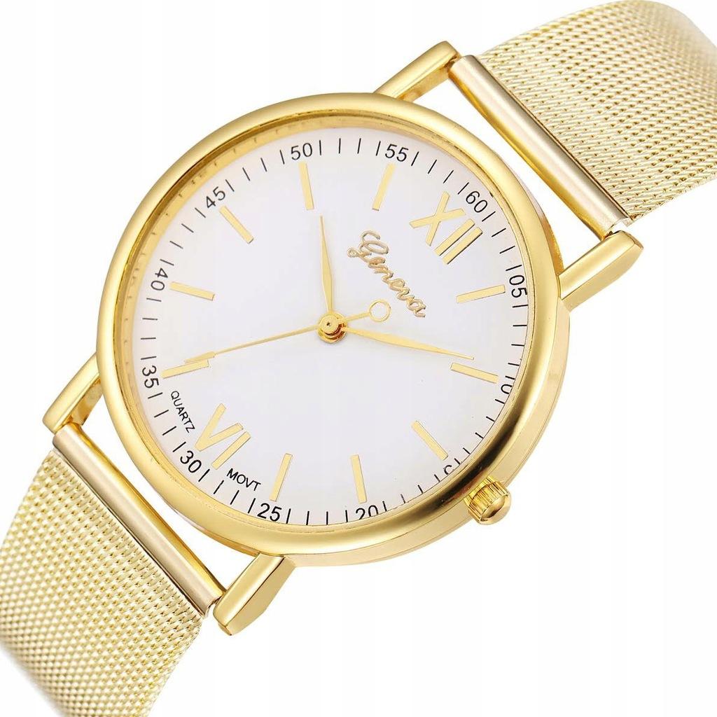 Zegarek DAMSKI GENEVA Klasyk MESH złoty biały