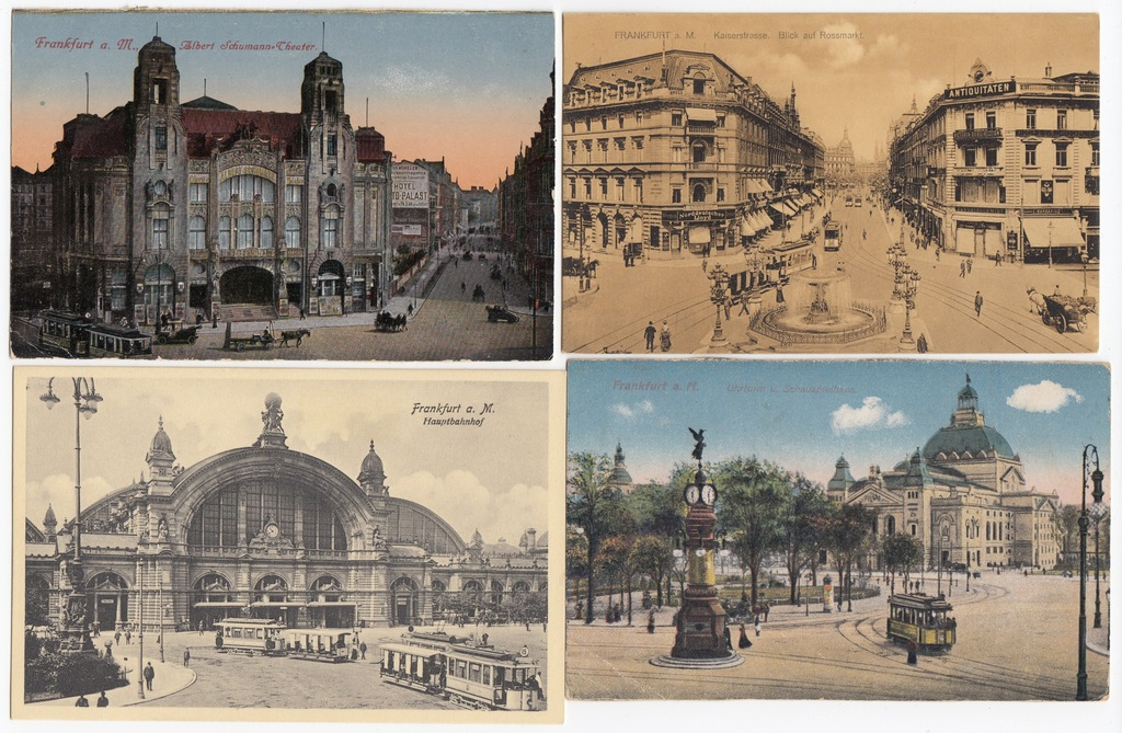 Stare pocztówki TRAMWAJ Frankfurt aM (4 szt.) 4T59