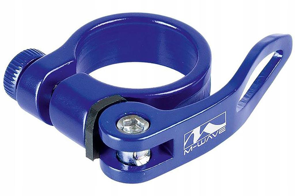 Obejma M-WAVE z szybkozamykaczem 34,9mm niebieska