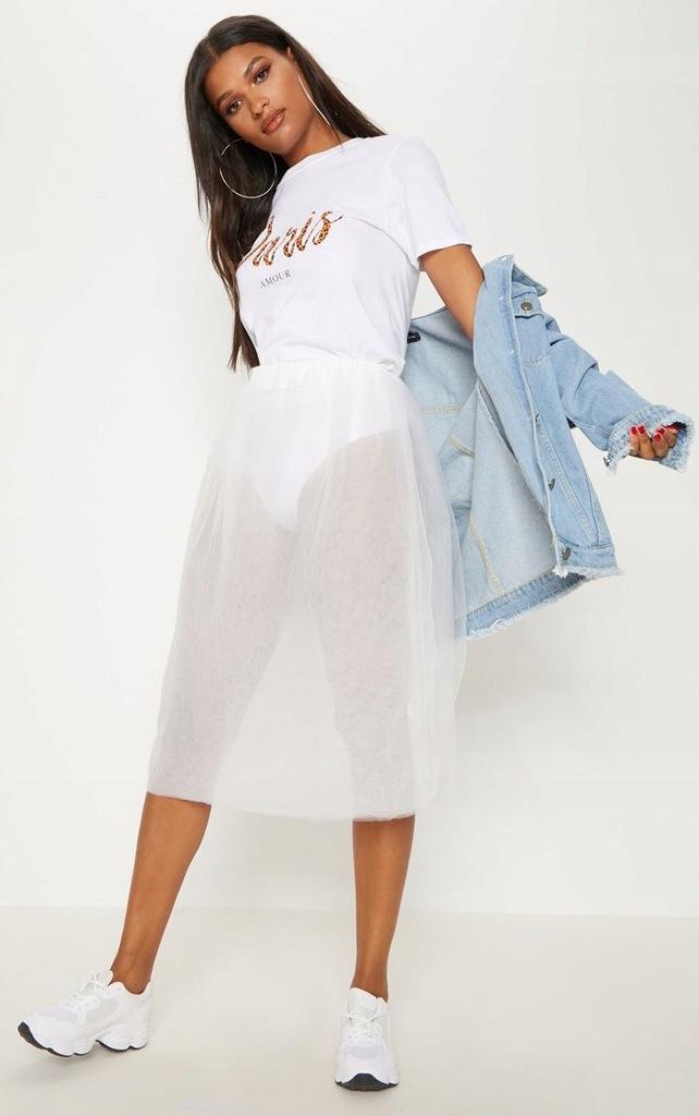 PRETTYLITTLETHING tiulowa spódnica biała XL
