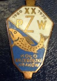 Odznaka wędkarska PZW 20 Grzegórzki Kraków 1970