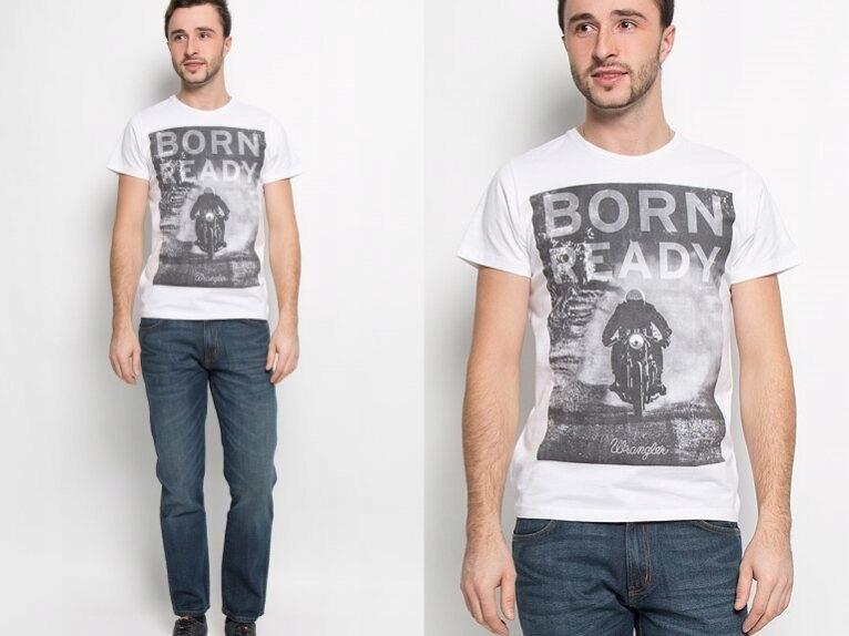 Wrangler biała koszulka t-shirt z nadrukiem M
