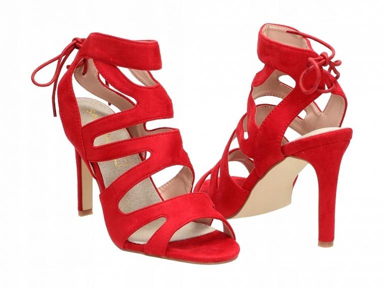 Czerwone sandały damskie, szpilki SABATINA 115 r38