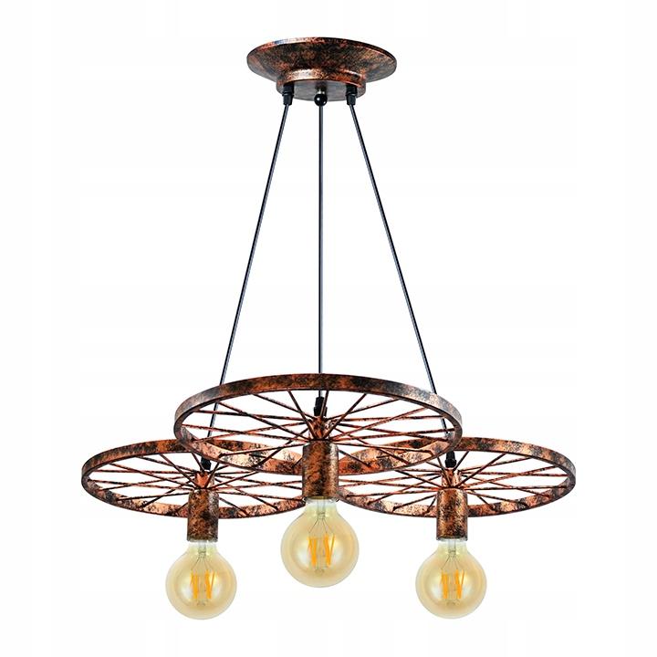 lampy wiszące z trzema lampami na kole