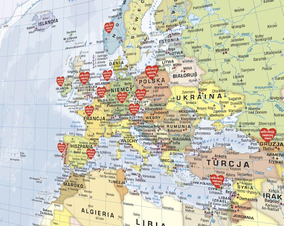 Mapa ścienna Świata, edycja limitowana WOŚP #1