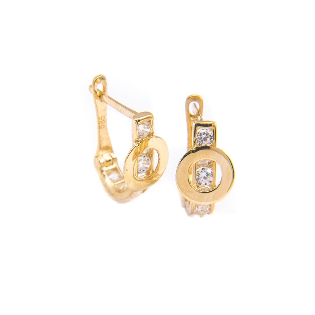 Złote DZIECIĘCE Kolczyki CELEBRYTKA 585 Koło Kółko