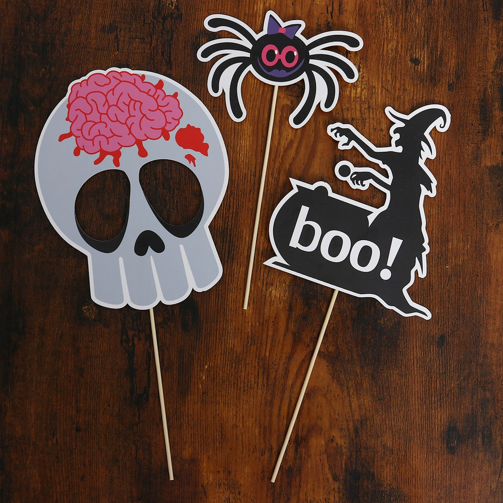 25pcs Halloween Ghost Spider Photo Booth Props Cre
