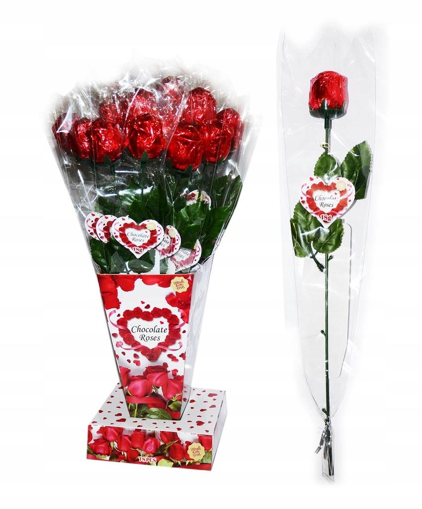 Róża z czekolady czekoladowa 18 g.x18 szt. / 40 cm