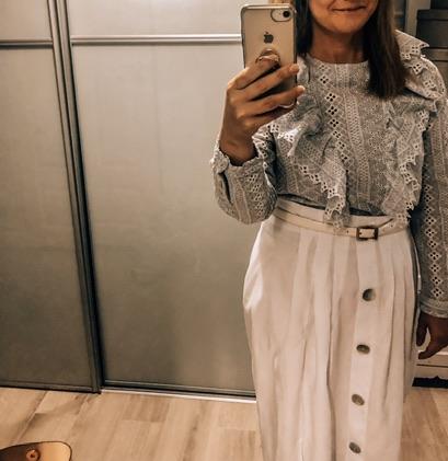 H&M bluzka falbanki haft angielski 42 piękna