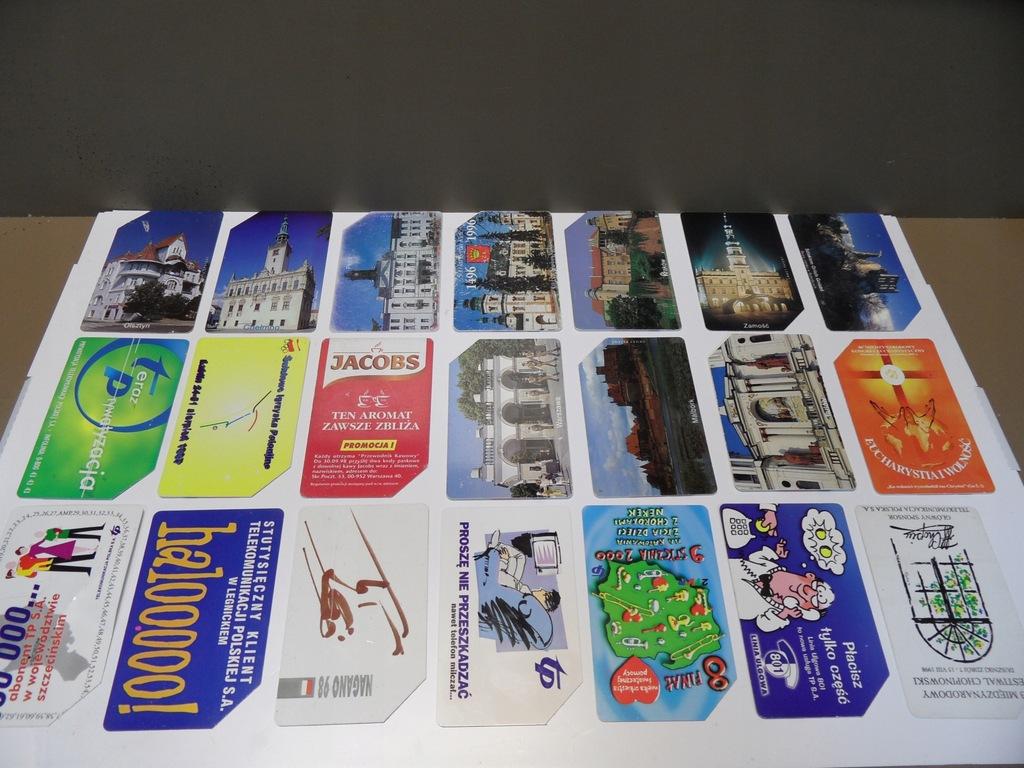 Karty telefoniczne kolekcjonerskie TP S.A. 21sztuk