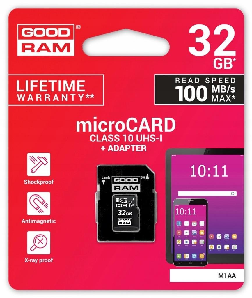 Karta pamięci microSDHC 32GB CL10 + adapter