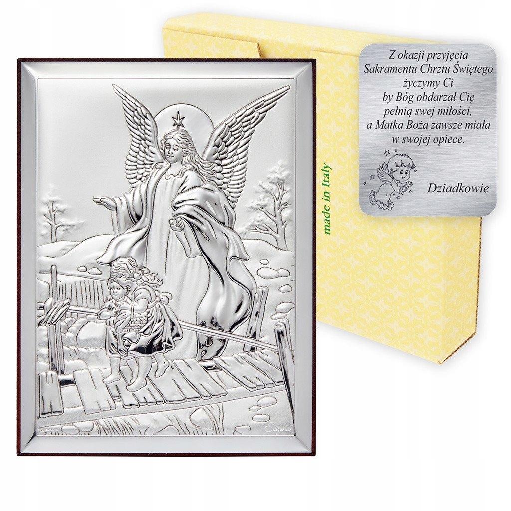 Obraz srebrny Anioł stróż Pamiątka Chrztu Świętego