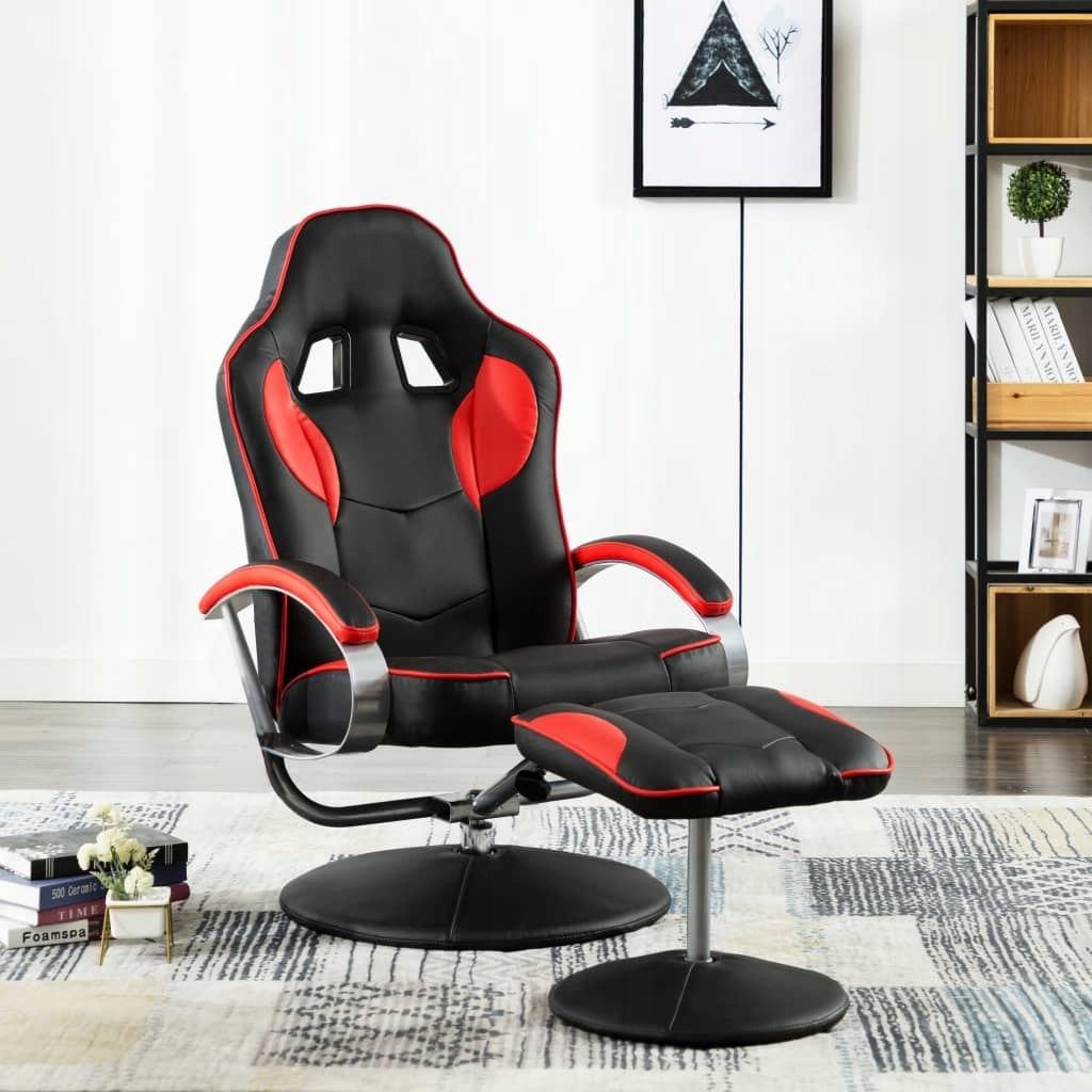 Rozkładany fotel dla gracza z podnóżkiem, czerwon