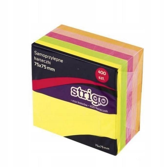 Karteczki samoprzylepne 76x76mm 400K neon STRIGO