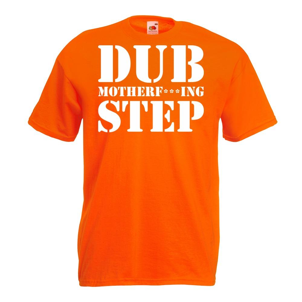 Koszulka z nadrukiem dubstep dub S pomarańczowa