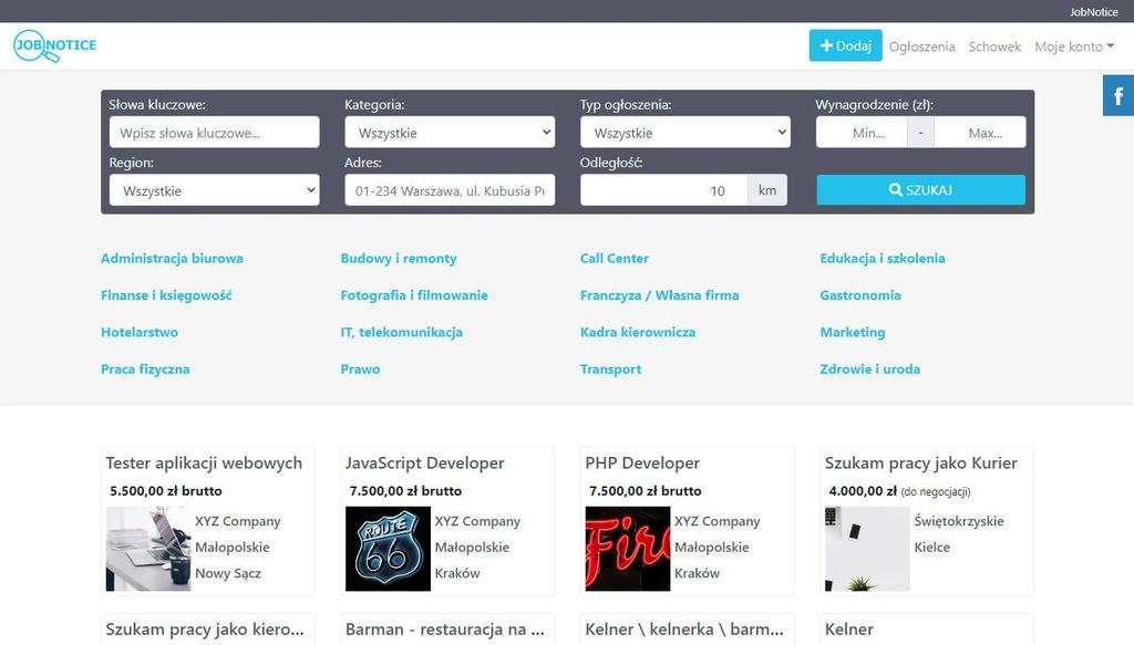 Skrypt strony www z ofertami pracy JobNotice