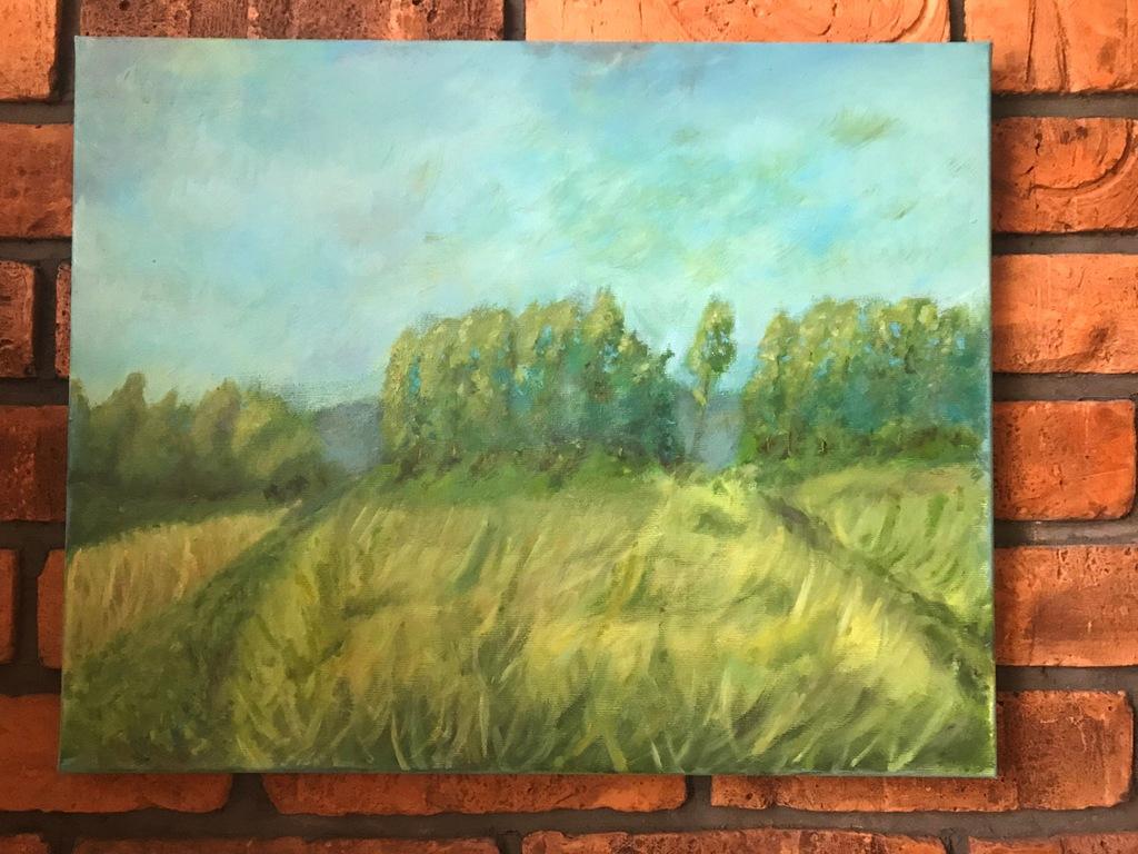 Kierkuś W. obraz olejny przy lesie