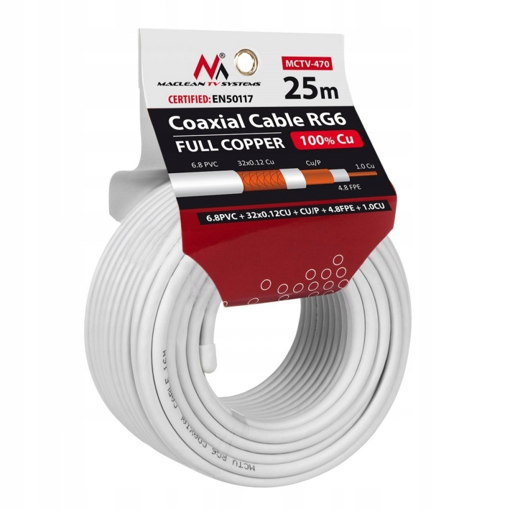 Kabel Koncentryczny RG6 25m MCTV-470