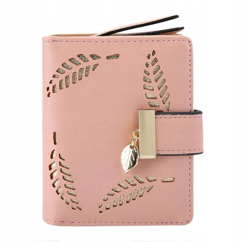 Portfel mały damski różowy listki Portmonetka
