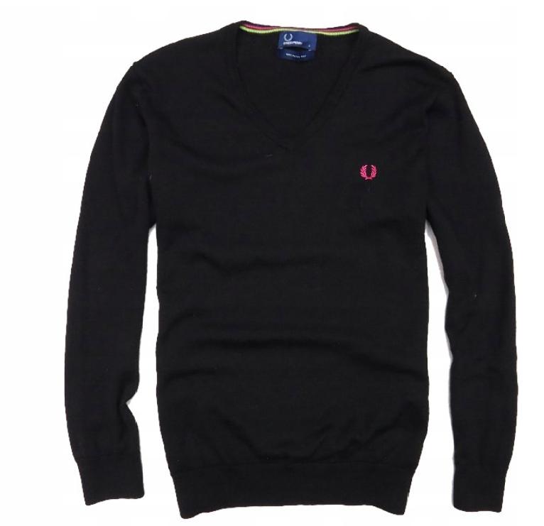 FRED PERRY sweter v-neck wełna merino merynos L