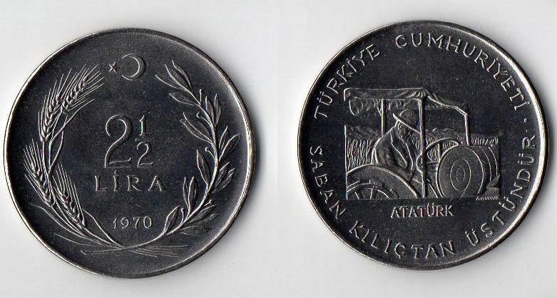 TURCJA 1970 2,5 LIRA FAO RZADKA