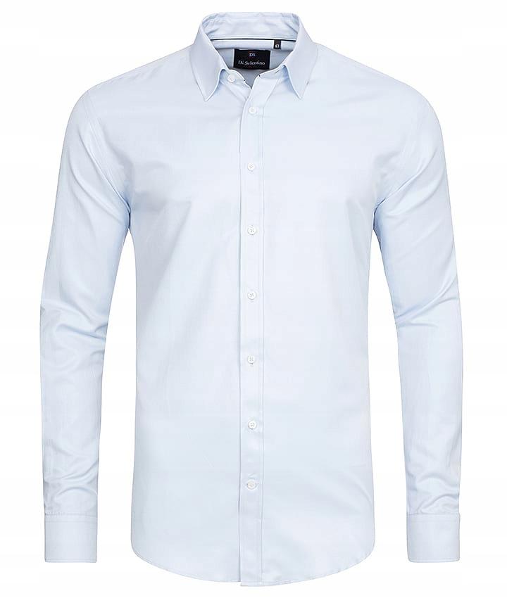 Koszula Męska Biznesowa Niebieska Dopasowana SM