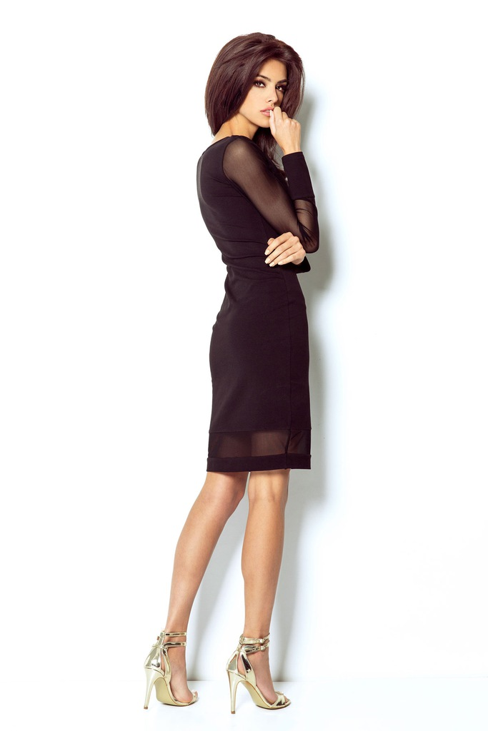 Seksowna sukienka z transparentnymi wstawkami z siatki