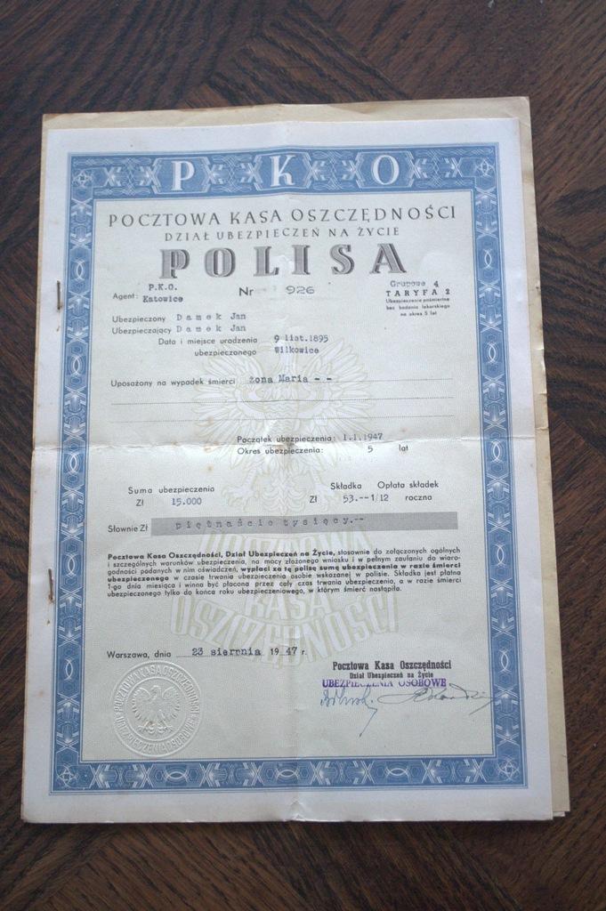 POLISA NR.926 UBEZPIECZENIE SUCHA PIECZĘĆ 1947