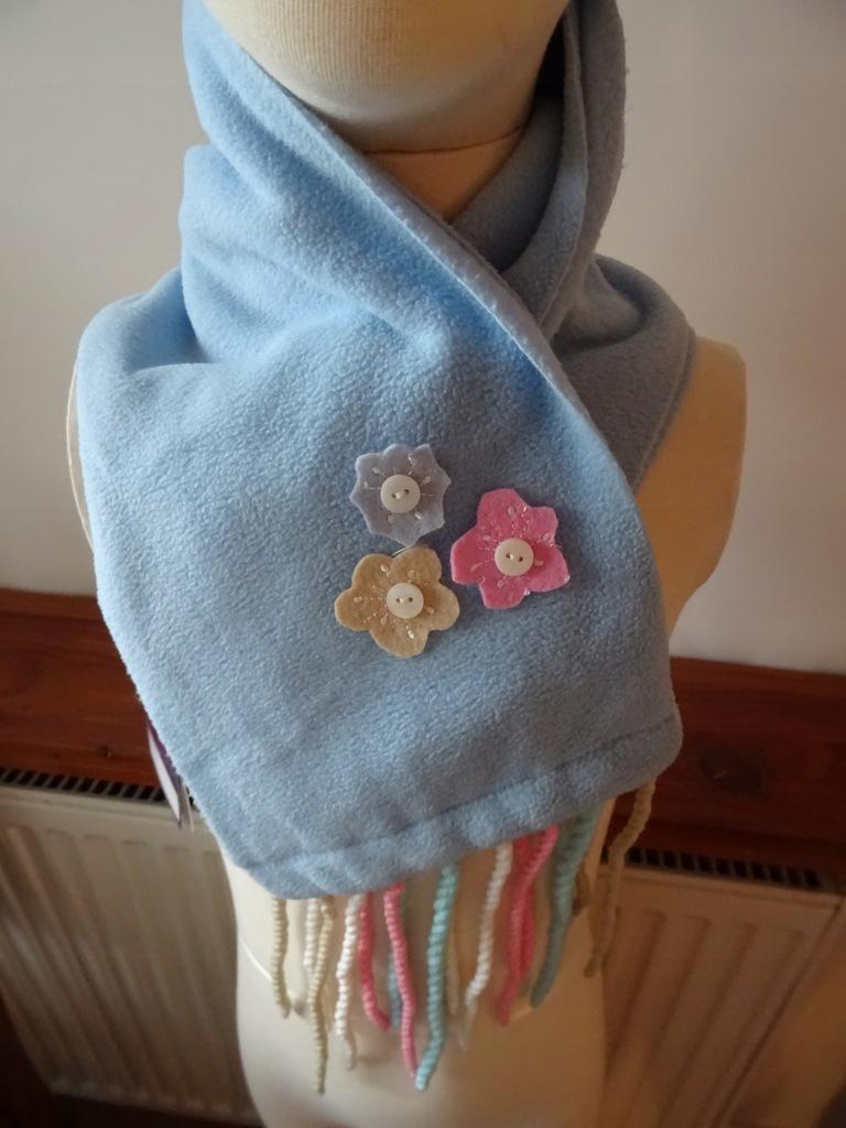 Mariquita szalik dziewczęcy polar błękitny kwiaty