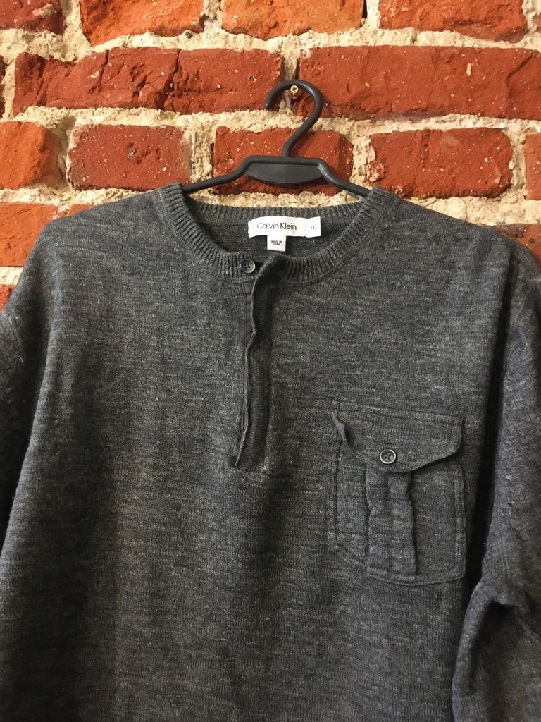 Wełniany sweter Calvin Klein XXL z lnem grafit