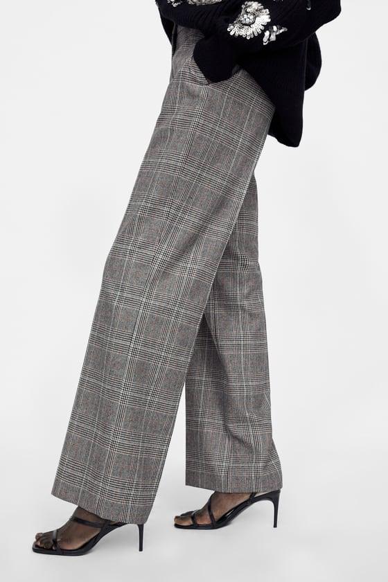 spodnie w kratę zara guziki damskie