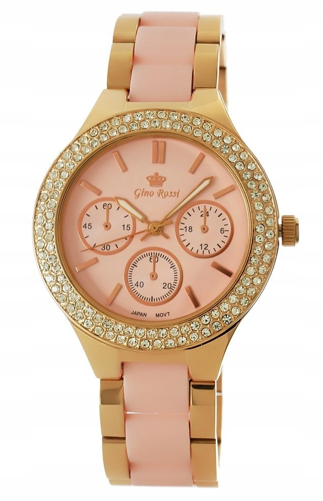 Zegarek Damski Gino Rossi 8412B-3D3 Różowe złoto