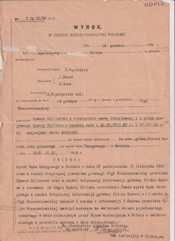 SĄD APELACYJNY WILNO WYROK 1937