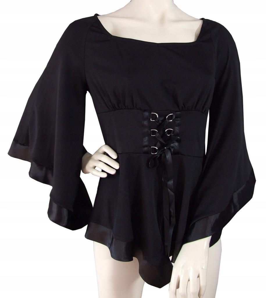 T shirty z gotyckimi naszyjnikami z koronkowymi rękawami