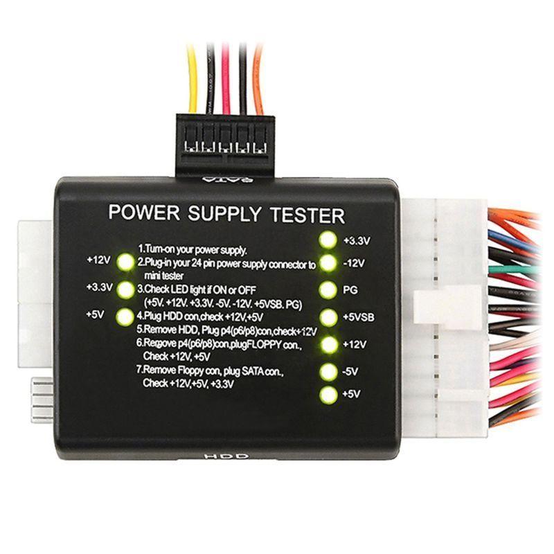 PC Computer PSU ATX Power Supply Tester 4//6//8//20//24 Pin Plug SATA Floppy Molex