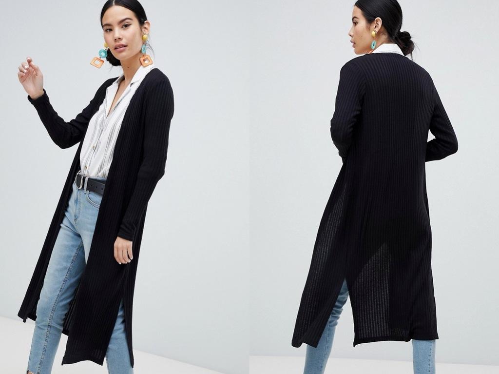 New Look Czarny Sweter Prążkowany Narzuta S/36