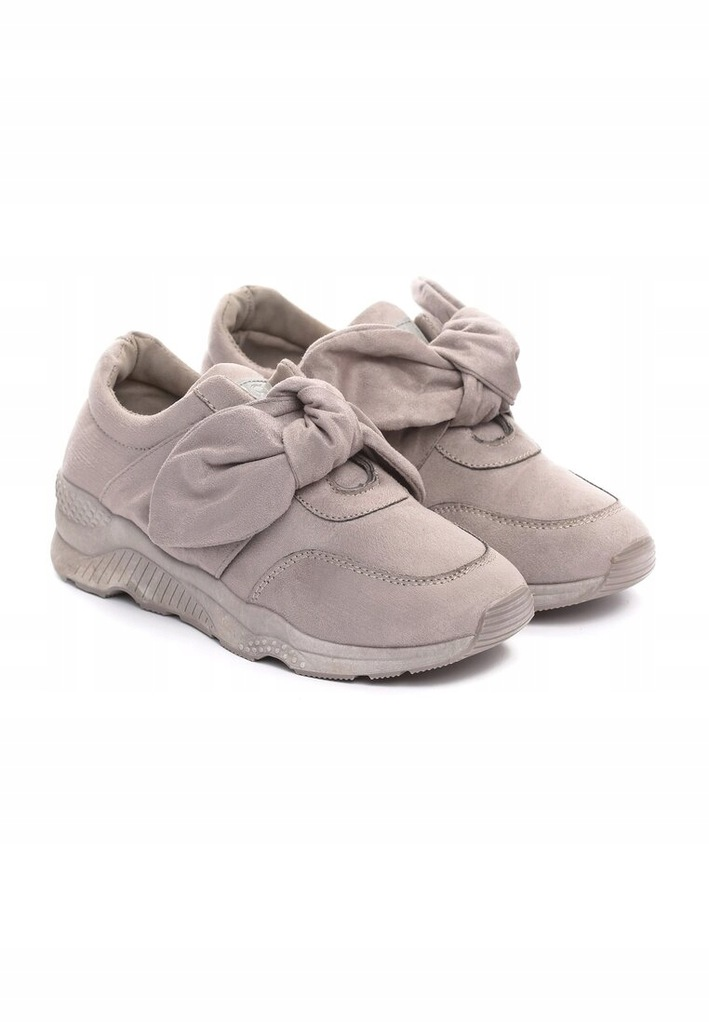 Sneakersy 39 szare kokarda zamsz