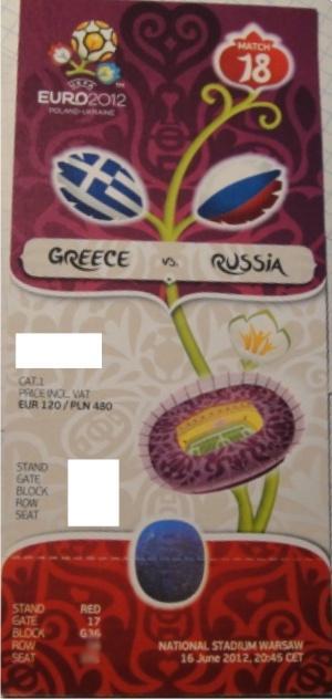 Bilet EURO 2012 z meczu Grecja-Rosja
