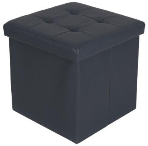 Pufa ze skrytką szara 38 x 38 cm POLA siedzisko sc