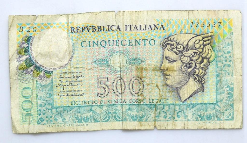 BANKNOT - Włochy - 500 Lir 1976