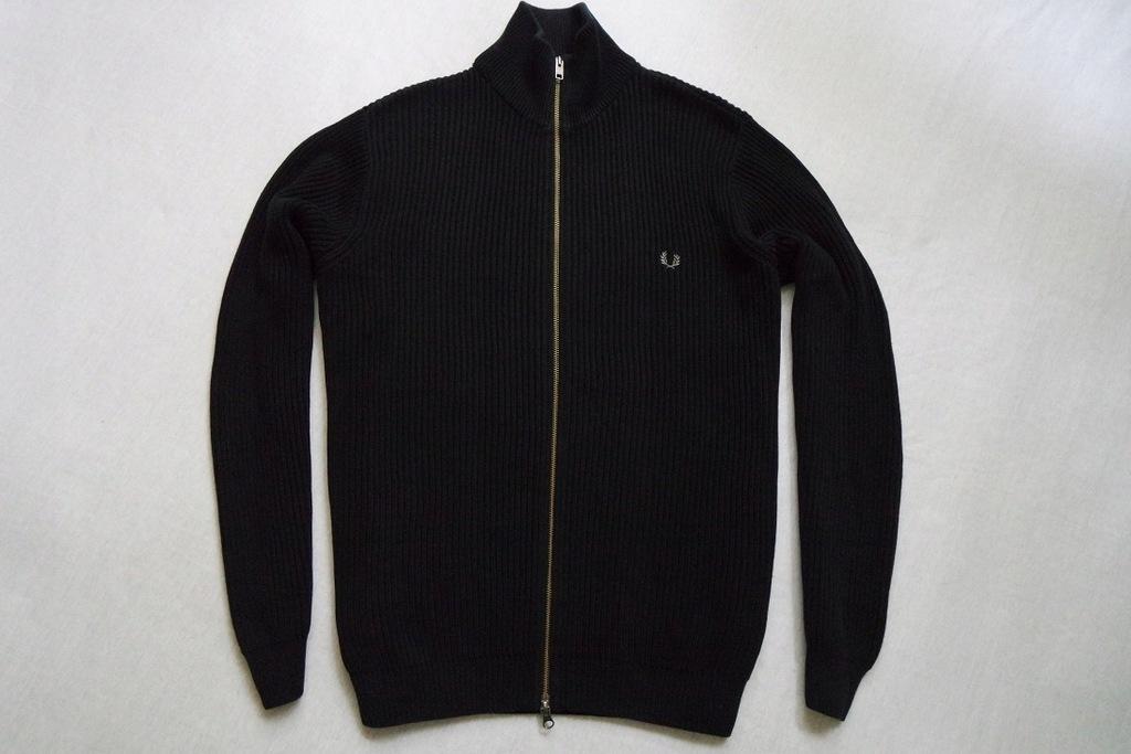 FRED PERRY sweter sweterek czarny paski logo____XL