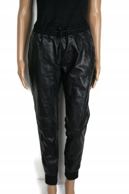 37639*ZARA spodnie czarne JOGGERY eko skóra r. M
