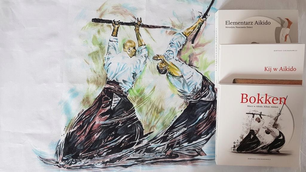 """Ręcznie malowany """"Bokken"""" i 3 książki!"""