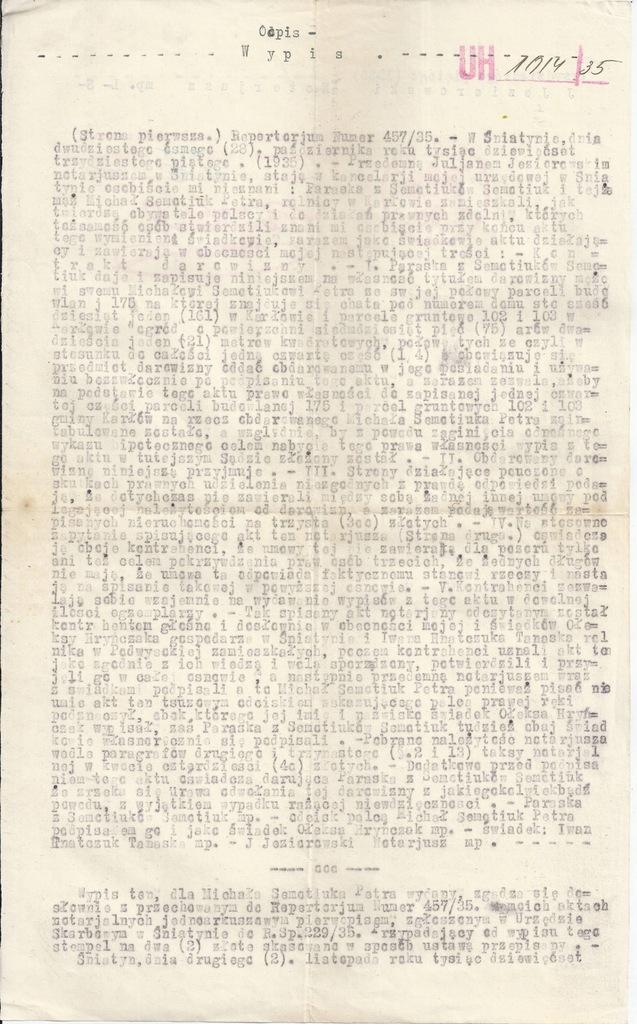 WYPIS SĄDOWY AKTU NOTARIALNEGO ŚNIATYŃ 1935