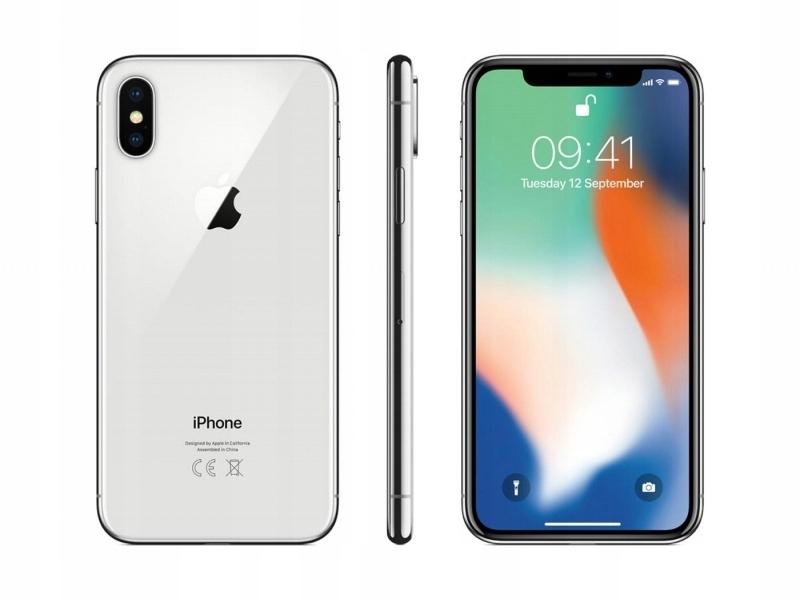 Uszkodzony Apple iPhone X 64GB Silver Srebrny