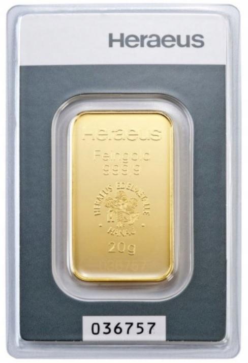 20 gram Au 999,9 - Sztabka Heraeus