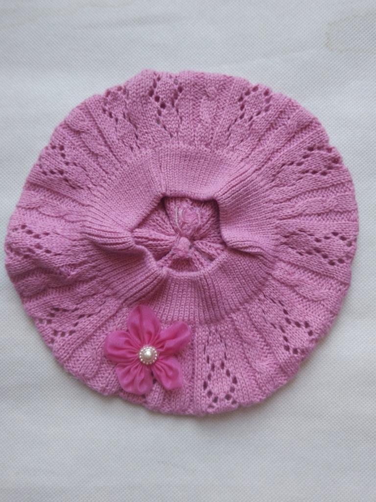 Berecik dziewczęcy różowy ażurowy 50-54