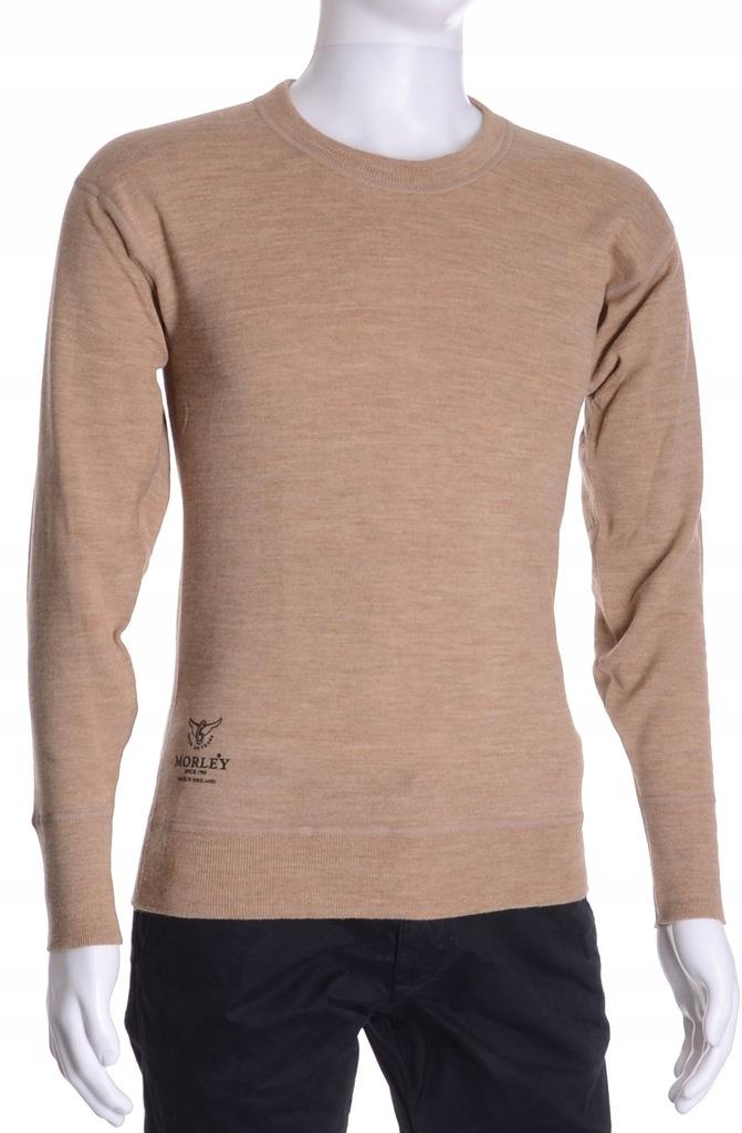MORLEY beżowy sweter męski 100% MERINO XS