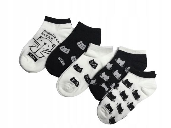 Skarpetki stopki damskie czarne i białe koty